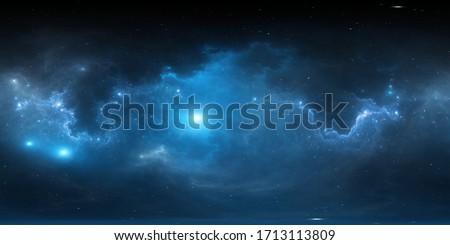 360 degree stellar system and nebula. Panorama, environment 360° HDRI map. Equirectangular projection, spherical panorama. 3d illustration