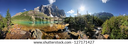 360 degree view of Lake Annette & Mount Temple in Paradise Valley Lake Louise, Banff National Park, Alberta, Canada
