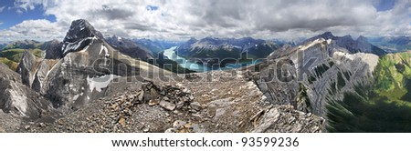 270 degree view, Windtower Peak Summit, Near Canmore, Alberta, Canada. (l-r) Mount Lougheed, Spray Lake, Mount Rimwall and the famous Three Sister Mountains that over look the town site of Canmore.