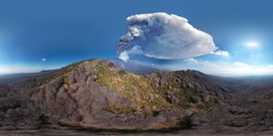 360 degree virtual reality panorama of the eruption of the Etna volcano by day 4 March 2021. Paroxysm on Etna in Sicily. Lava flow inside the Valle del Bove.