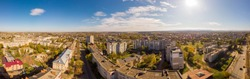 180 degrees landscape of urban area. Aerial drone view cityscape. Older European town Drohobych, Ukraine.