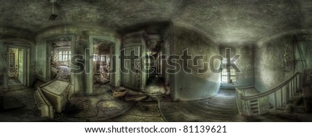 360 degrees panorama in an abandoned complex. various things lying around. the ceiling and the floor in some of the rooms are broken. hdr processing