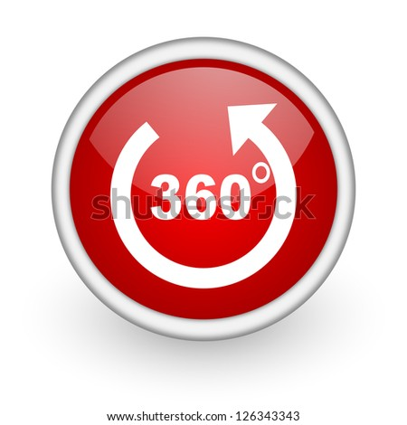 360 degrees panorama red circle web icon on white background