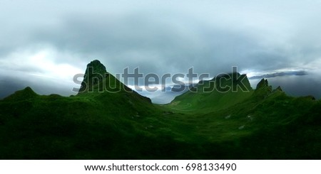 360 degrees spherical panorama of nature in Faroe Islands