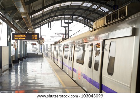 Delhi Metro station on March 03, 2012 in Delhi. Delhi Metro network consists of six lines with a total length of 189.63 kilometres (117.83 mi) with 142 stations