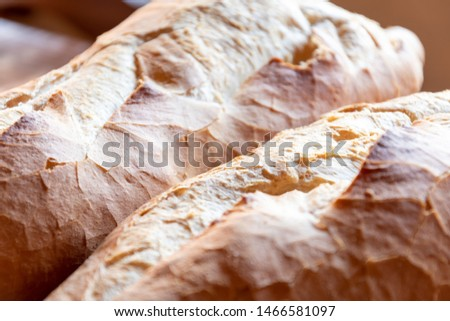 delicious homemade homemade bread, kneaded and baked for breakfast with a cup of chocolate