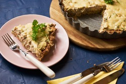 Delicious tuna tart with ricotta cheese. Creamy tart for dinner. Mozzarella tart. A quick and tasty meal.
