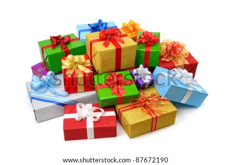 Delightful pile of multi-colored gift boxes with nice bows on white background