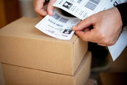 Delivery service, applying a shipping label
