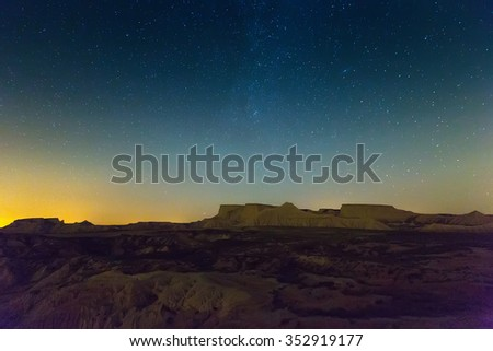 desert landscape of Navarra in night. Spain #352919177
