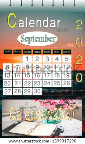 Designed for September 2020 calendar for  print and view  - Dimensions 1575X2550