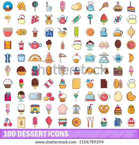 100 dessert icons set. Cartoon illustration of 100 dessert icons isolated on white background