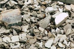 Destroyed building concrete construction debris