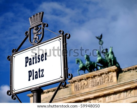 Detail admission of the sign Paris Place at the Brandenburger Gate in Berlin