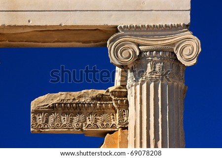 """""""Detail"""" from the Erechteion, Acropolis, Athens, Greece. A column capital of the Ionic order."""