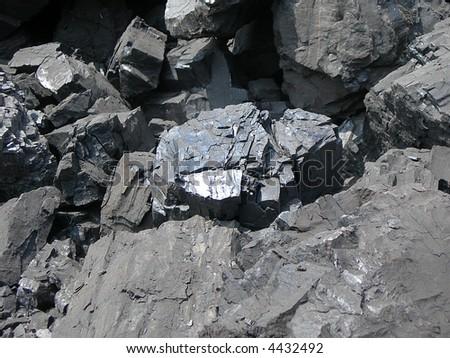 Detail of black coal in coal mine