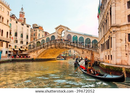 Detail of Rialto bridge in Venice