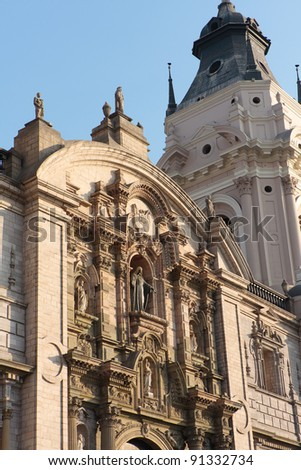 Details of National Cathedral on plaza de armas also known as plaza mayor,  Lima peru