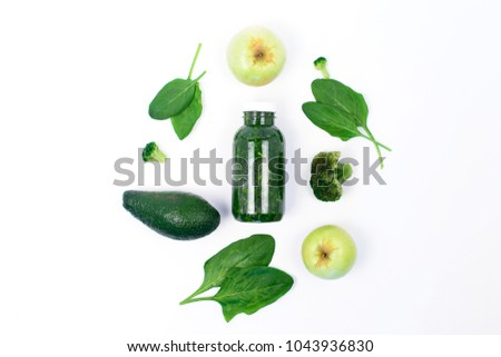 Detox.Fruits, vegetables and green smoothies on a white background