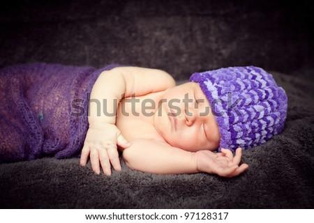 0-7 deys baby. New born baby.Soft focus.