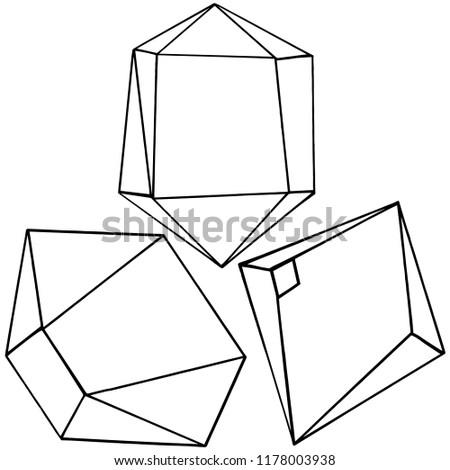 diamond rock jewelry mineral. Isolated illustration element. Geometric quartz polygon crystal stone mosaic shape amethyst gem.