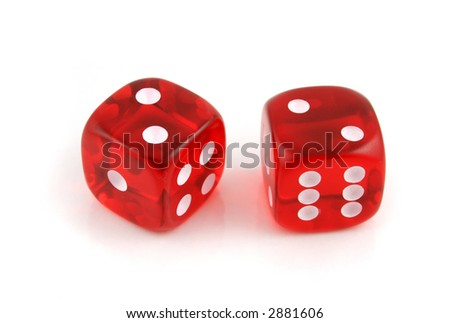 2 Dice close up- A Pair of 2s