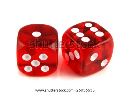 2 Dice close up -  showing the numbers 1 and 6