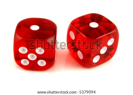 2 Dice close up -  showing the numbers 1 and 1