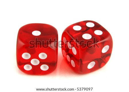2 Dice close up -  showing the numbers 1 and 4 #5379097