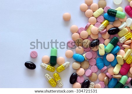 diferent Tablets mix heap drugs pills capsules therapy doctor flu antibiotic pharmacy medicine medical