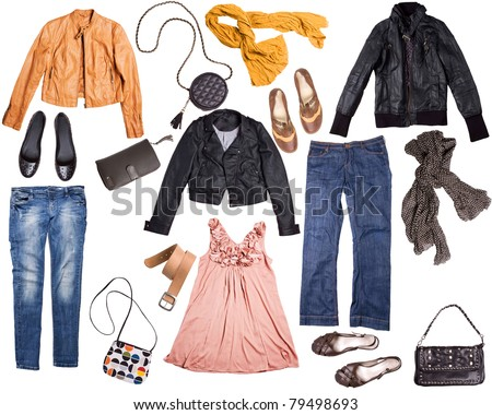 different clothes for females isolated on white background