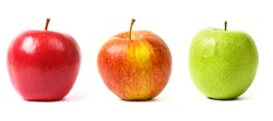 3 different colors apples on white background