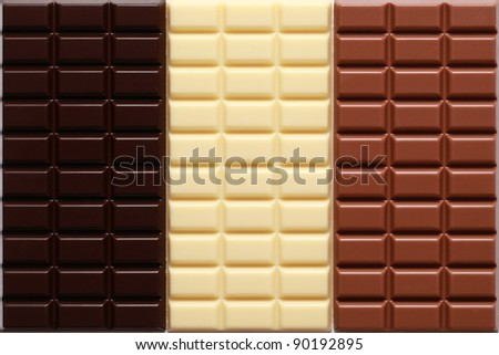 3 different sorts of chocolate in a stack