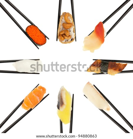 8 different types of sushi being held up in in a circle formation with black chopsticks isolated on white.