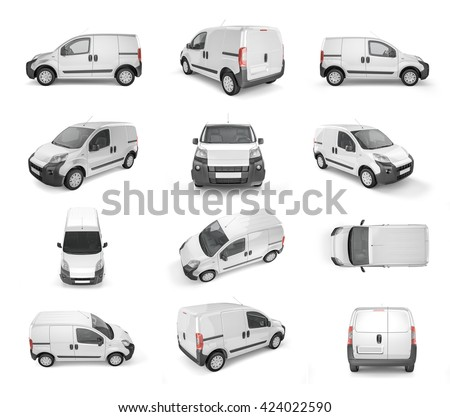 12 different views on pickup car on white background - mock up. Easily add some creative design or logo on this blank space. 3D Illustration