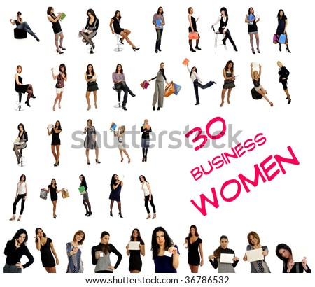 30 different women in business & corporate wear with suitcases, blank signs, business cards, business wear. Isolated on white background