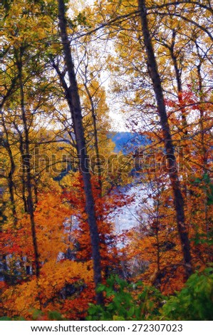 Digital art, paint effect, autumn landscape, river, Quebec, Canada