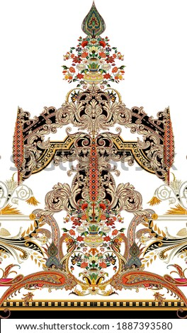 digital textile design Exquisite baroque design, rococo design, suitable for textile clothing and wallpaper design