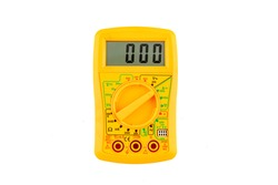Digital yellow multimeter meter isolated to check the resistance on a white background. Multimeter for a measurement of a voltage, current and resistance with cables.