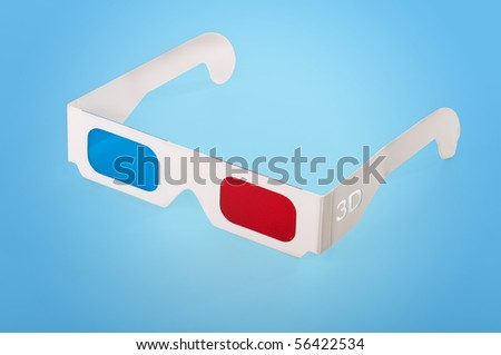 3Dimension glasses on blue background