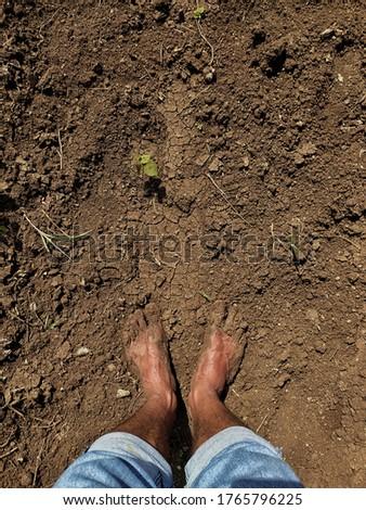 Dirty Muddy human feets in soil at Maharashtra india