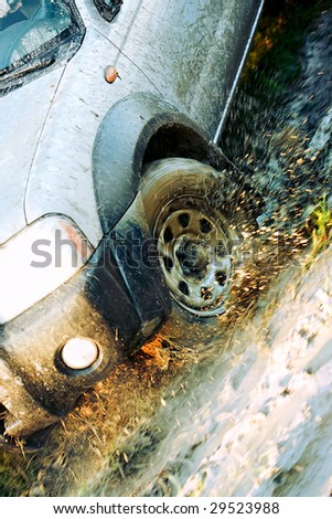Dirty wheel of  cross-country vehicle