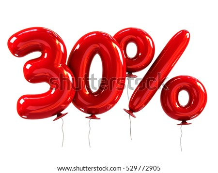 30% discount made of Red Balloons. sale concept. 3d rendering isolated on White Background