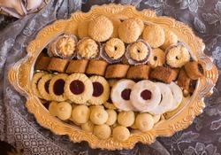 Dish Arabic sweets, Algerian , Makroot , Gharibah
