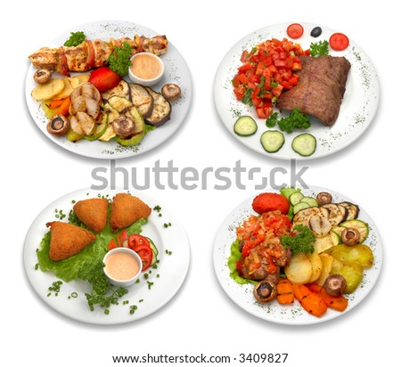 4 dishes of delicious food. Isolated on white.