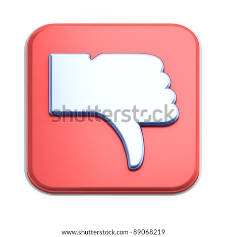 """Dislike"" button 3d  render on white background"