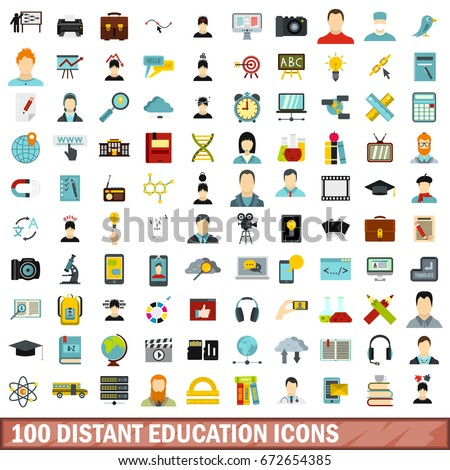 100 distant education icons set in flat style for any design  illustration