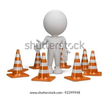 3dl person standing in the warning position next to traffic cone. 3d image. Isolated white background.