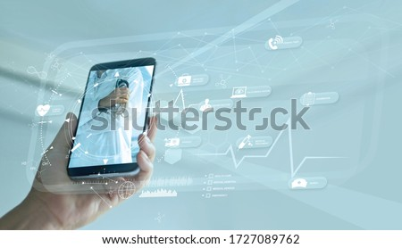 Doctor online and virtual hospital concept, Diagnostics and online medical consultation on smartphone, Communication with patient on network, Healthcare, Innovation and medical technology.