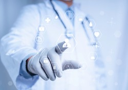 Doctor touch virtual screen with white icon medical on white background, medical technology network concept